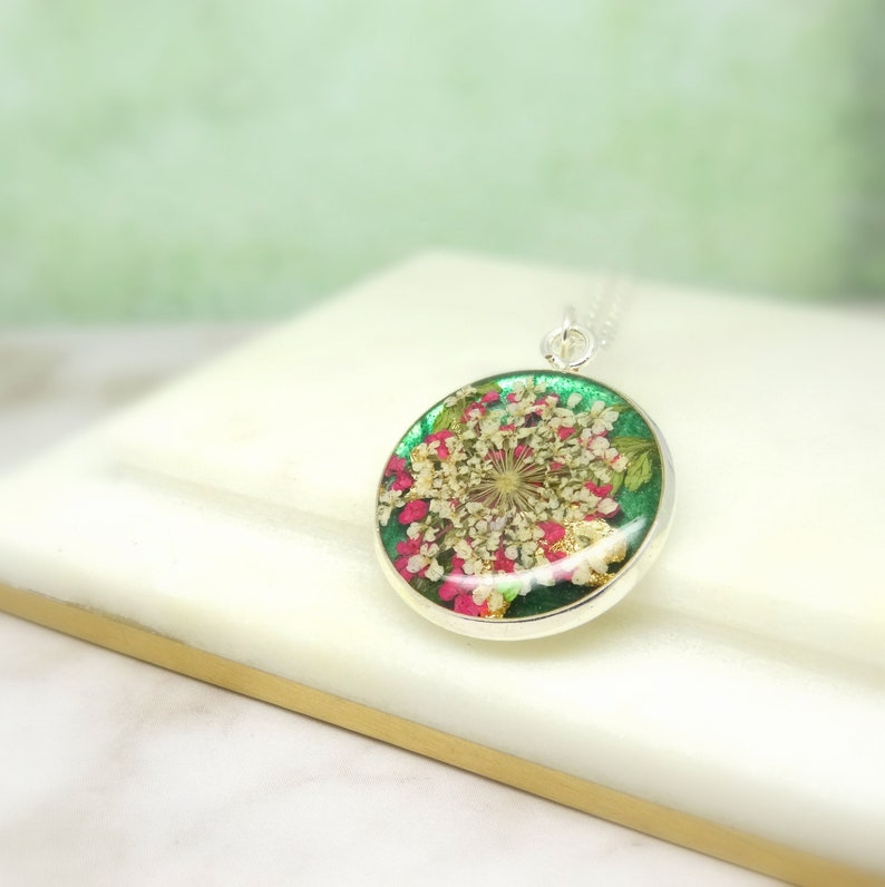 handmade resin jewellery Real flower necklace unique gift for her real flower jewelry