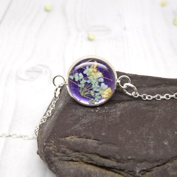 Real flower bracelet, real flower jewelry, handmade gift for her, personalised gift, unique gift ideas, handmade bracelet