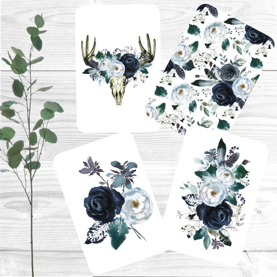 Set of 8 notecards, Mini note cards set, Blue rose note cards, Notecards and envelopes, recycled cardstock, Floral note cards