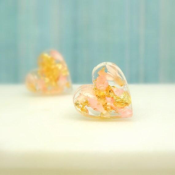Pink earrings on sterling silver studs, heart shape earrings, earth jewelry, fairy earrings