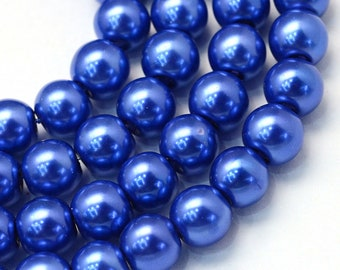 50 Beads Slate Blue Glass Pearl Beads Round 8mm Approx