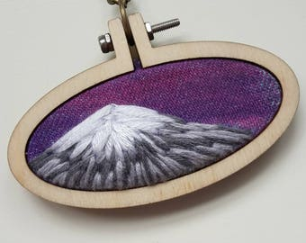 "embroidery necklace ""mountain sunrise"""