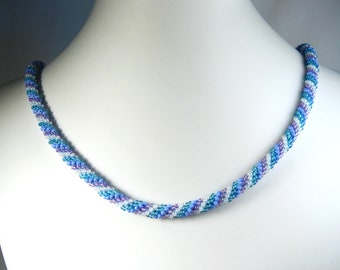 Hand Crocheted Blue, Purple and White Glass Seed Bead Necklace 24""