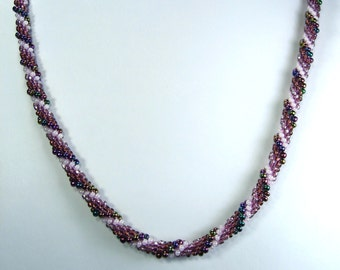 """Hand Crocheted Purples Glass Seed Bead Necklace 22"""""""