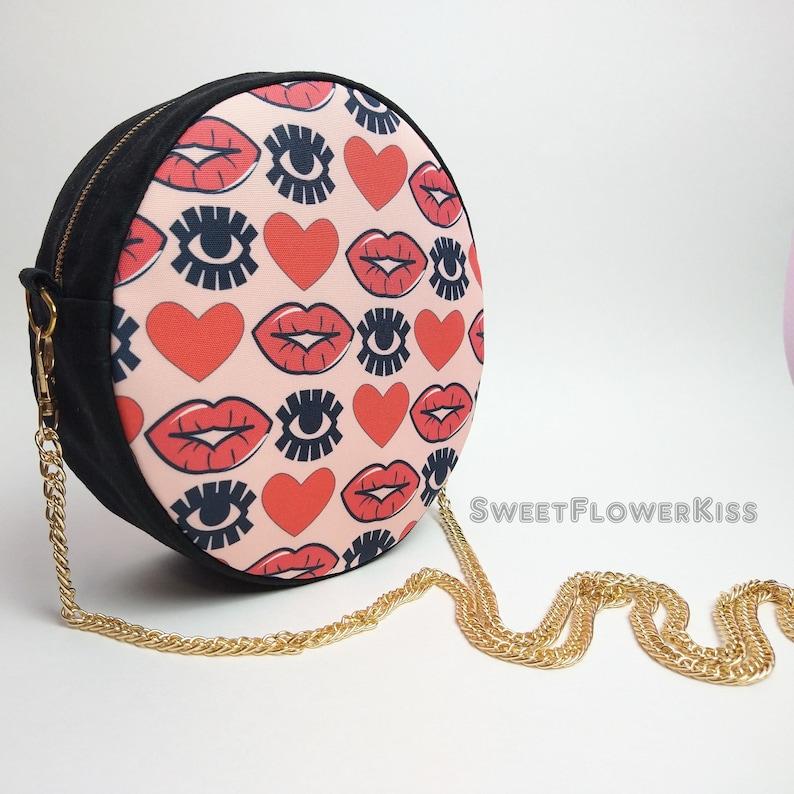 Lips handbag  Eye handbag Hearts bag Round bag