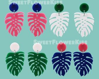 Monstera leaf earrings Acrylic earrings Laser cut earrings Colorful earrings
