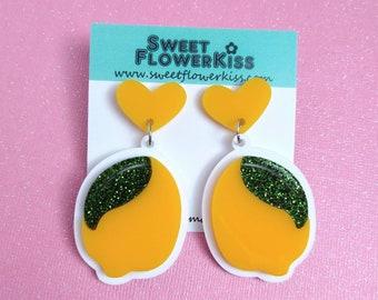 Lemon earrings Fruit earrings Laser cut earrings
