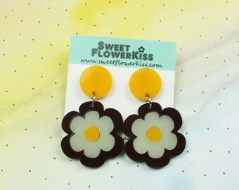 Retro flower earrings Acrylic earrings Laser cut earrings