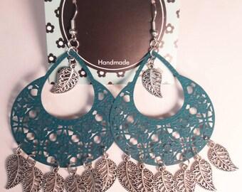 Blue earrings Blue boho earrings Chandelier earrings Bohemian earrings Blue dangle earrings Gift for her Ethnic earrings Boho jewelry Gift