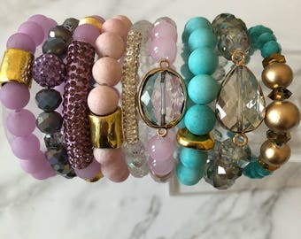 Spring Beaded Bracelets