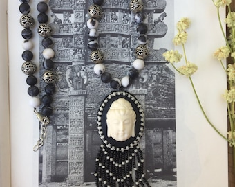 The /Buddha Balance\ Bead Embroidered Necklace