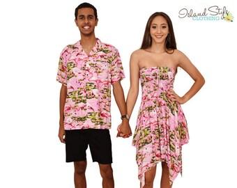 0b74bfc924 Couple Set PINK FLAMINGO Loud Hawaiian Shirt   Pixie Dress Luau Party Fancy  Dress Costume