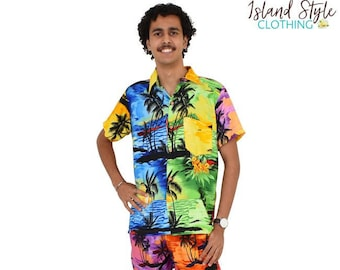 a1e5b778 Sunset Patchwork Mens Hawaiian Shirt & Shorts Party Set Cabana