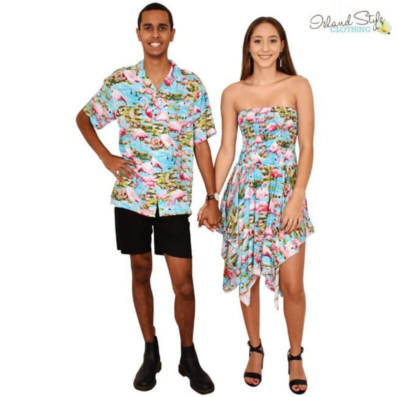 7cc15078f9b1 Turquoise Flamingo Pixie Dress & Hawaiian Shirt Couples Set | Etsy