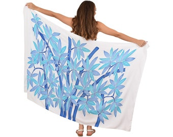 BAMBOO Hand-Painted Sarong + Coconut Clip Tropical Cruise Party