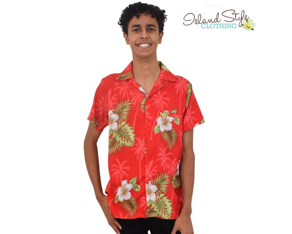 2ba1fef7 Hawaiian Shirt Red Hibiscus Tropical Party Shirt | Etsy
