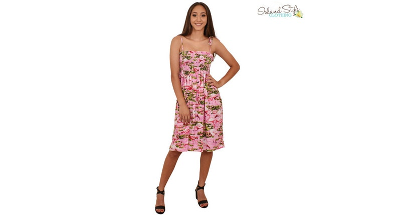 623487334f Ladies Tube Dress Flamingo Loud Shirred Cruise Luau