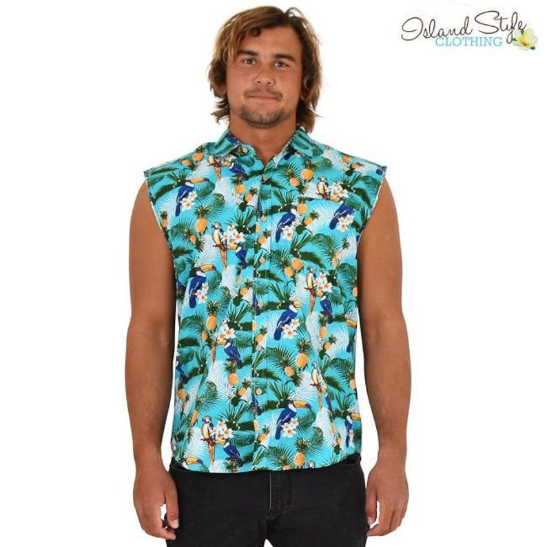 eb9481da Toucan Party Mens Sleeveless Hawaiian Shirts | Etsy