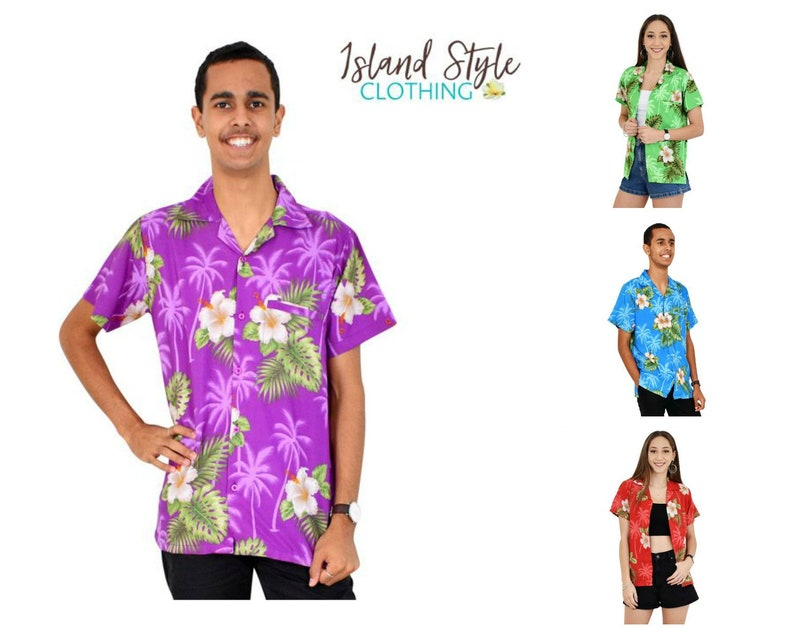 a062129c UNISEX Hibiscus Mens Hawaiian Shirt Floral Luau Party Clothing | Etsy