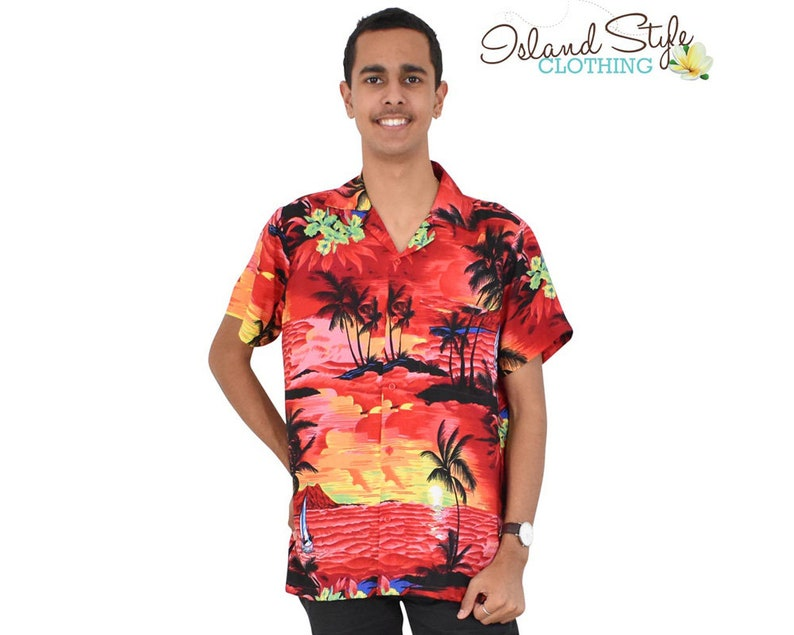 20501aedd Red Sunset Mens Hawaiian Shirt Tropical Party Clothing