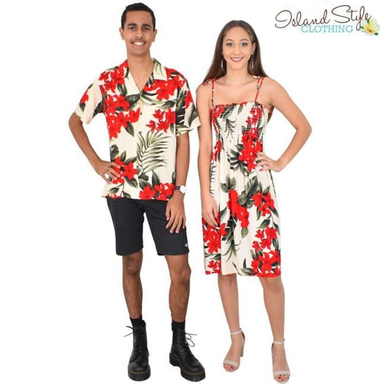 f84e36d0ae Cream Red Leaf Couple Set Tube Dress and Mens Hawaiian Shirt
