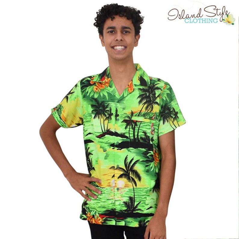 ef8718123 Hawaiian Shirt Green Sunset Tropical Party Shirt
