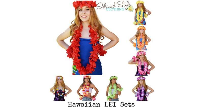 0d408a3be4 LEI SET 4 Piece Hawaiian Necklace Accessory Fancy Dress Cruise