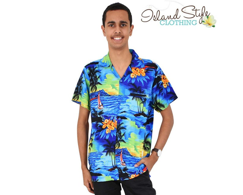 84ee870cf Blue Sunset Mens Hawaiian Shirt Tropical Party Clothing