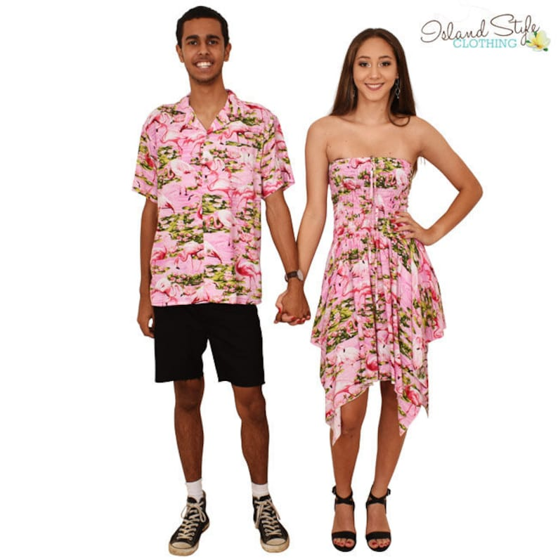 6d9976db27c32 Couple Set PINK FLAMINGO Loud Hawaiian Shirt   Pixie Dress