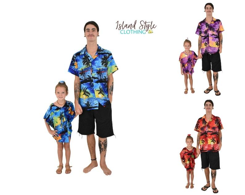 Matching Father Son Hawaiian Luau Outfit Men Shirt Boy Shirt Red Sunset