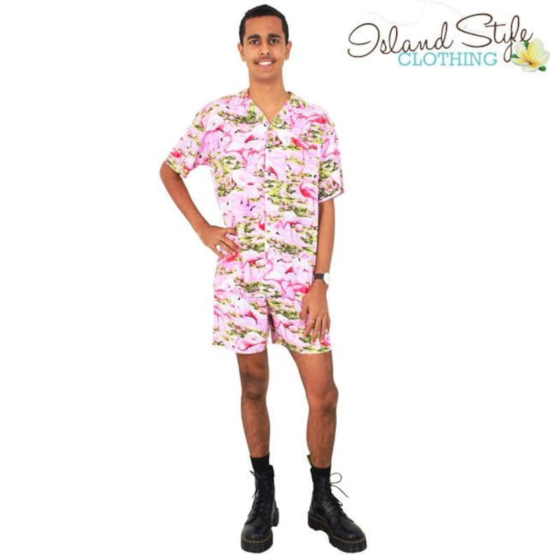 cdf1d9b0528bd Pink Flamingo Loud Mens Hawaiian Shirt   Shorts Cabana