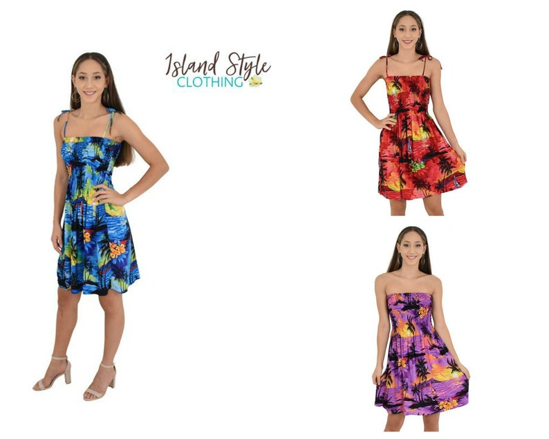 7bbeb6d34208 Ladies Hawaiian Sunset Tube Dress | Etsy