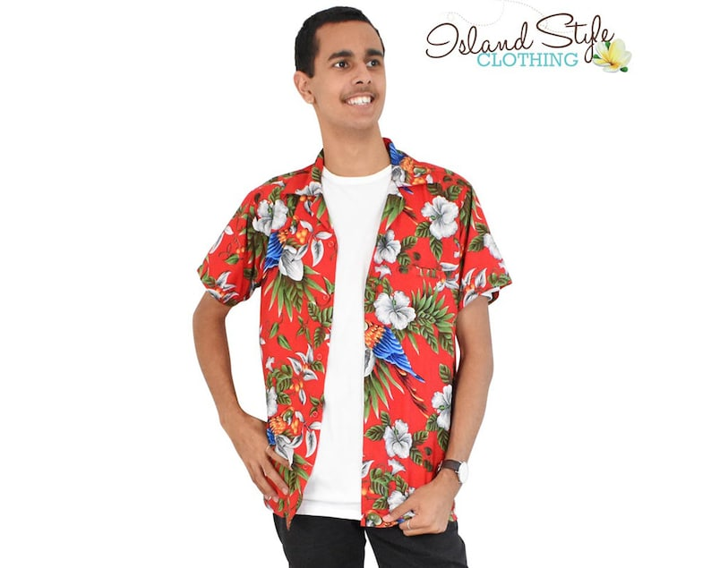257c2f170 Red Magnum Hawaiian Shirt Fancy Dress Costume Luau Party