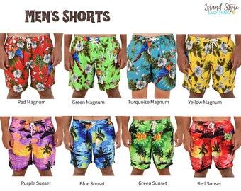 Mens Magnum & Sunset Hawaiian Shorts