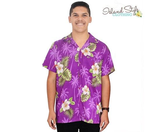 fc44344b Purple Hibiscus Mens Hawaiian Shirt Tropical Party Shirt | Etsy