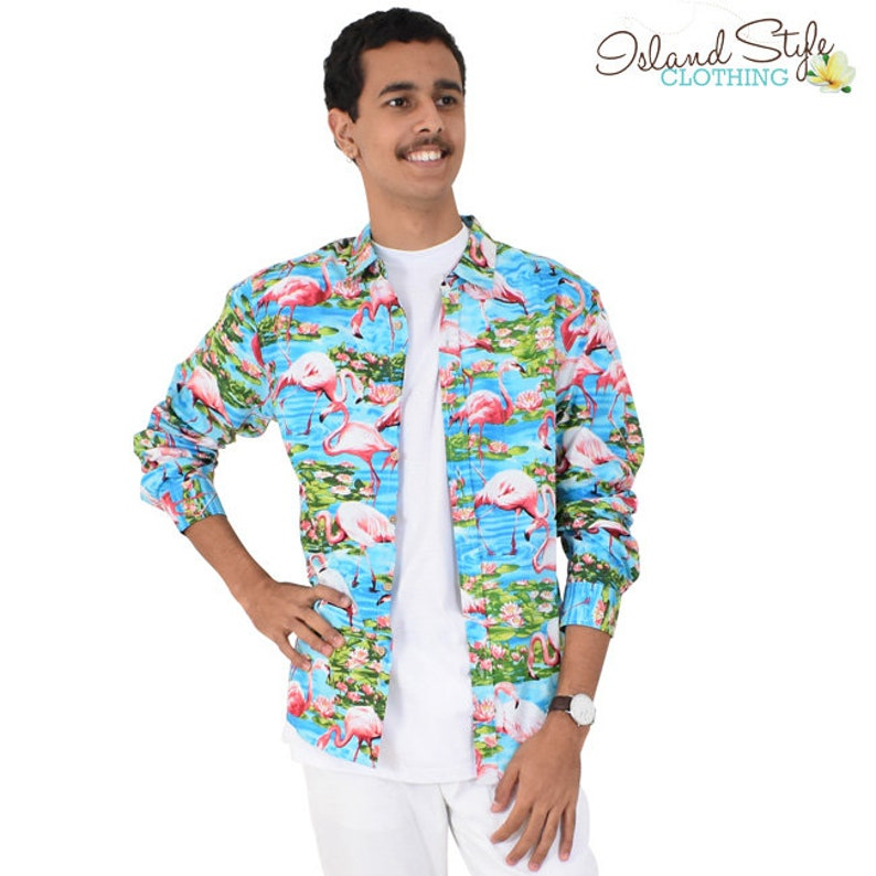 f969cebc59917 Turquoise Flamingo Loud Long Sleeve Mens Hawaiian Shirts 100%