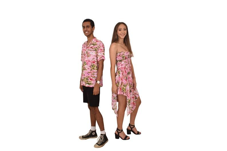 3dd7160aca8f Couple Set PINK FLAMINGO Loud Hawaiian Shirt & Pixie Dress | Etsy