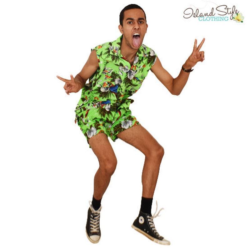 f9b42772 Green Magnum Sleeveless Hawaiian Shirts & Shorts Cabana | Etsy