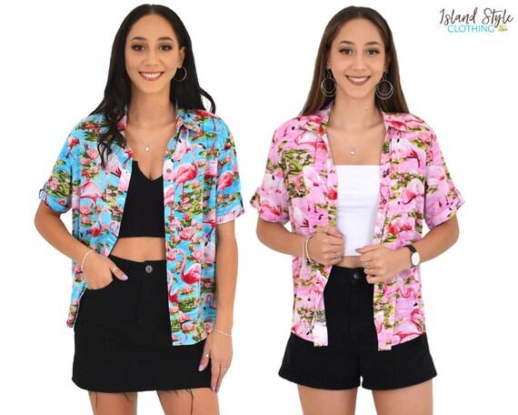 Womens Cut Hawaiian Shirts Pink or Turquoise Flamingo   Etsy