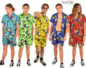 Mens Hawaiian Shirt & Short Set Magnum Aloha Buck Party Festival