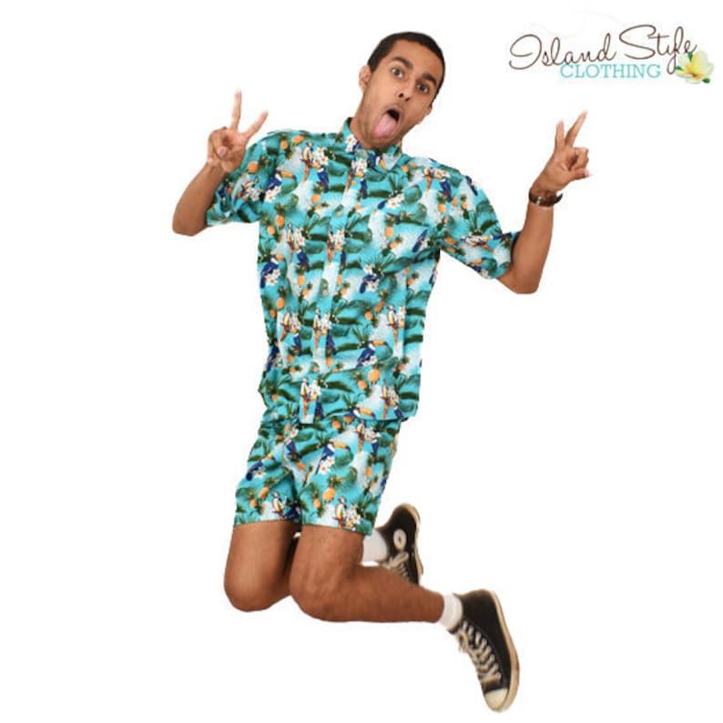 92feb714 Toucan Party Cotton Mens Hawaiian Shirt & Shorts Cabana | Etsy
