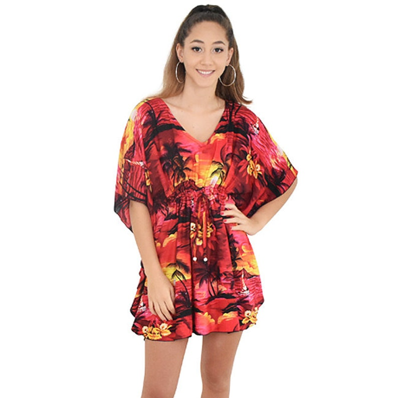 108cc5b2a4 SUNSET Ladies Kaftan Short Poncho Top Beach Dress Hawaiian