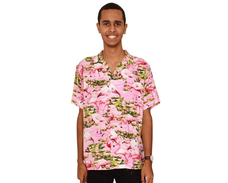 2a026440a6 Pink Flamingo Mens Hawaiian Shirts Tropical Clothing Aloha