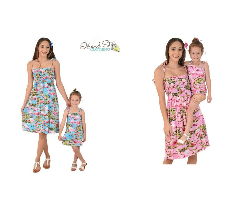 def603f83586 Mother Daughter Matching Flamingo Tube Dresses | Etsy
