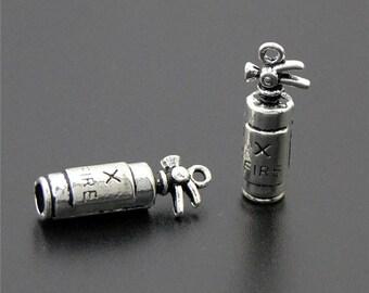 15pcs Fire Extinguisher Charms Silver 3D Fire Extinguisher charm pendants 23x8mm
