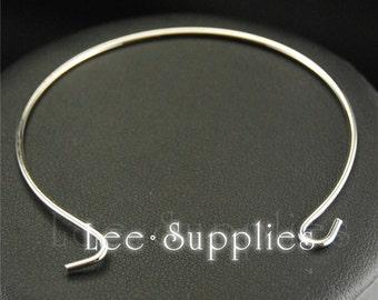 10pcs Rhodium plated Brass Adjustable Expandable Wire Cuff Open Bangle Bracelet BA-06