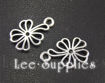 20pcs Antique Silver Flower Charms Pendant A1948