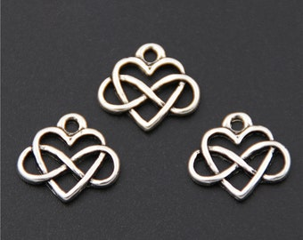 30pcs Antique Silver Endless Love Heart Charms Pendant A2587