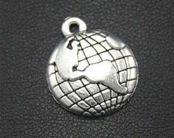 30pcs Antique Silver Bronze Earth Charms Pendant A1768/A2281