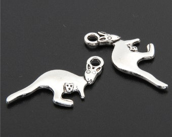 30pcs Antique Silver Kangaroo With Baby Charms Pendant A2712